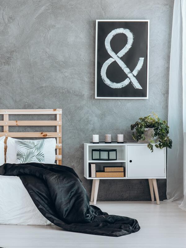 slaapkamer-grijstinten-kussens-bladeren-sprei-decoratie – LUMO decor ...